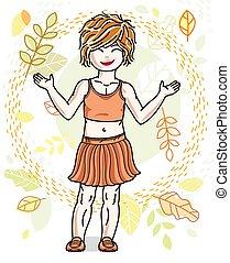 casual, menina, desgastar, paisagem, pequeno, vermelho-haired, posar, feliz, cute, na moda, character., clothes., outono, vetorial, fundo