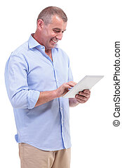 casual middle aged man working on tablet