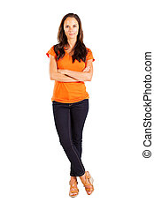 middle aged woman full length portrait - casual middle aged...