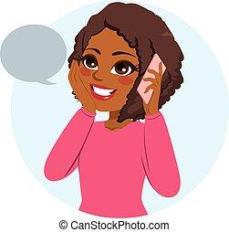 casual, mujer, teléfono
