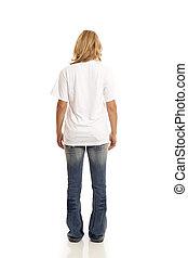 casual, mujer, vista, espalda, joven