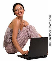 casual, mulher, ligado, laptop