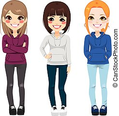 Casual Outfit Teenager Girls - Full body illustration of...