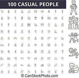 Casual people line icons, signs, vector set, outline illustration concept