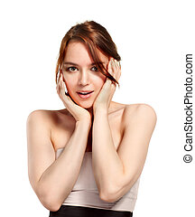 Casual portrait of beautiful woman isolated on white background in studio.