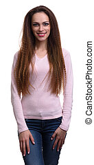 casual pretty woman with long hair isolated