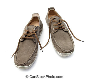casual shoes - casual brown shoes on a white background