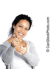 Casual smiling woman on white background