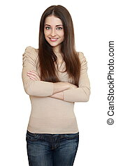 Casual smiling young woman in blue jeans isolated on white background