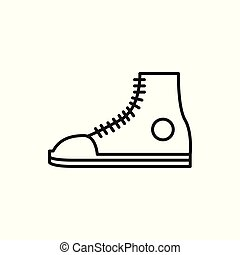 Casual Sneaker Shoe Thin Line Icon Illustration Design