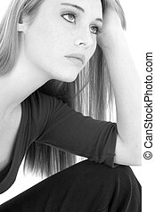 Casual Teen Girl Portrait in Black and White