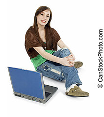 Casual Teen with Laptop