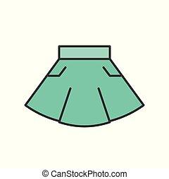 casual wear mini skirt, filled color outline editable stroke