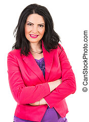 Casual woman in fuchsia jacket standing with arms folded...