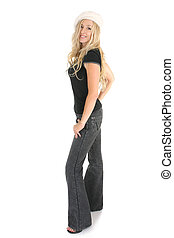 Casual woman in jeans - Casual blonde female dressed in...
