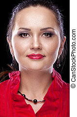 Casual woman in red suit close-up portrait