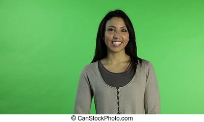 Casual woman isolated green screen confident interview