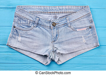 Casual woman jeans shorts isolated.