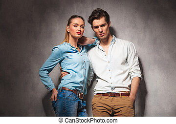 casual woman leaning on her boyfriend