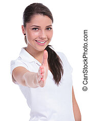 casual woman offers handshake - casual young woman offering...
