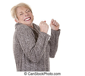 casual woman - casual blond woman in her fifties on white...