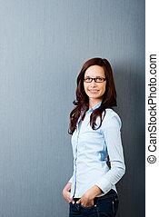 Casual woman - Beautiful casual woman posing against the...