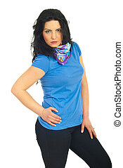 Casual woman posing in blank t-shirt