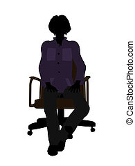 Casual Woman Sitting On A Chair Illustration Silhouette -...