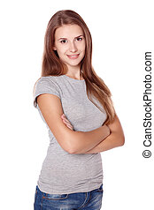 Casual woman smiling standing with folded hands
