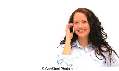 Casual woman speaking on the phone