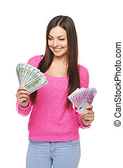 Casual woman with us dollars and euro cash - Happy woman...