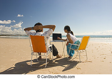 Casual Workers - Meeting at the beach. Shot at Gold Coast, ...