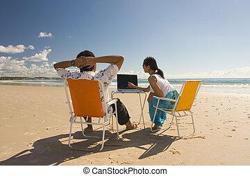 Meeting at the beach. Shot at Gold Coast, AUS