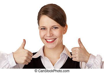 Casual young attractive businesswoman shows both thumbs up...