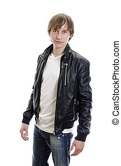 Casual young man in white t-shirt, leather jacket and jeans. Isolated on white.