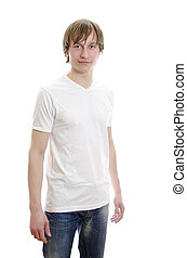 Casual young man in white t-shirt with jeans. Isolated on white.