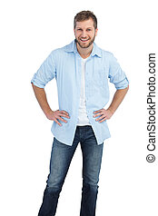 Casual young man on white background