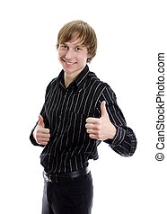Casual young man showing thumb up and smiling. Isolated on white.
