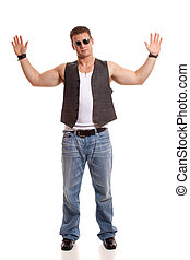 Casual Young Man - Casual young man in vest and jeans.