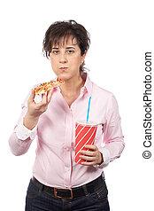 casuale, donna mangia, pizza