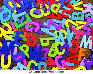 casuale, lettere, colorito, letterpress