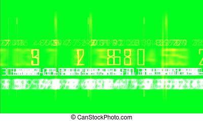 casuale, numeri, su, verde, schermo
