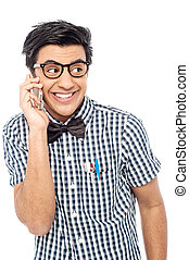 casuale, uomo, usando, suo, telefono cellulare