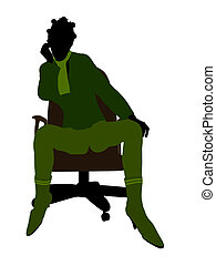Casually Dressed African American Illustration Silhouette -...