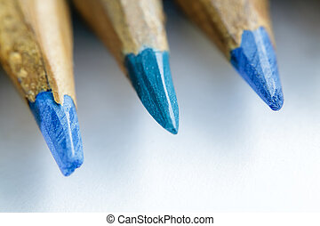 Casually knife sharpened colored pencils