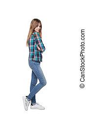 casualmente, niña, adolescente, camisa, posición, a cuadros
