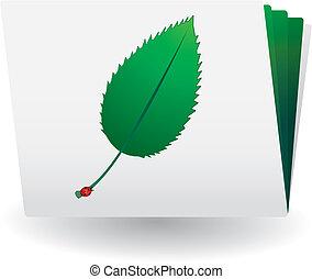 catálogo, con, hoja verde, y, mariquita, encima