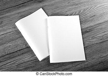 catálogo, de madera, folleto, blanco, plano de fondo, ...