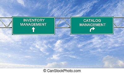 catálogo, gerência, inventário, sinal estrada