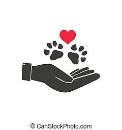 catálogos, pata, segurando, coração, institucional, veterinário, ilustração, mão, informativo, ideal, material., human, caucasian.
